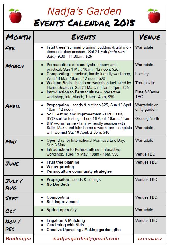 Events Calendar 2015